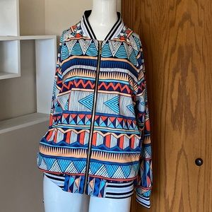 Jackets & Blazers - Colorful geometric medium bomber jacket